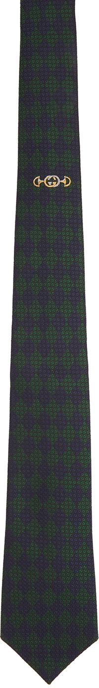 Gucci 绿色 & 蓝色 Interlocking G 真丝领带