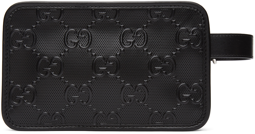 Black GG Embossed Tennis Cosmetic Pouch