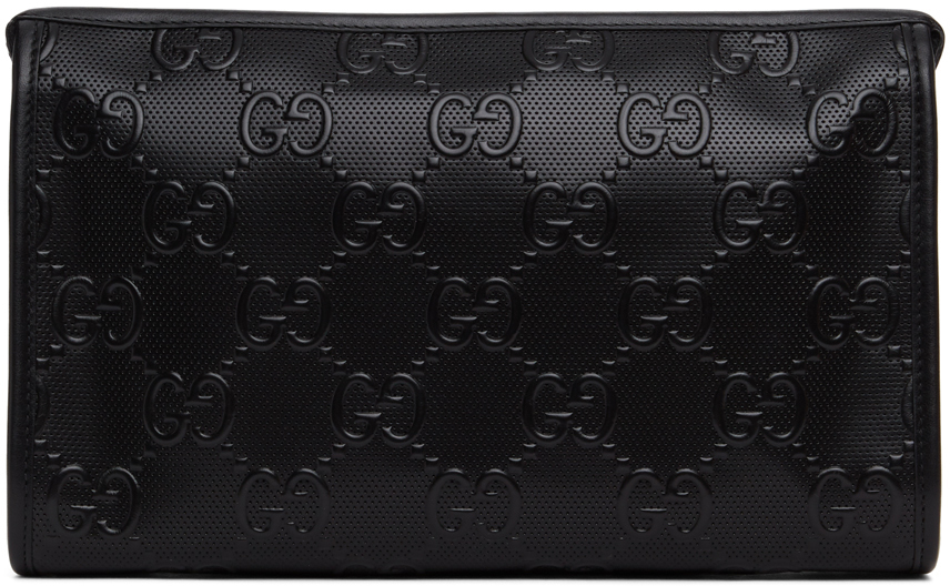 Black GG Embossed Tennis Pouch