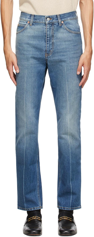 Gucci 蓝色 Regular Fit 大理石纹水洗牛仔裤