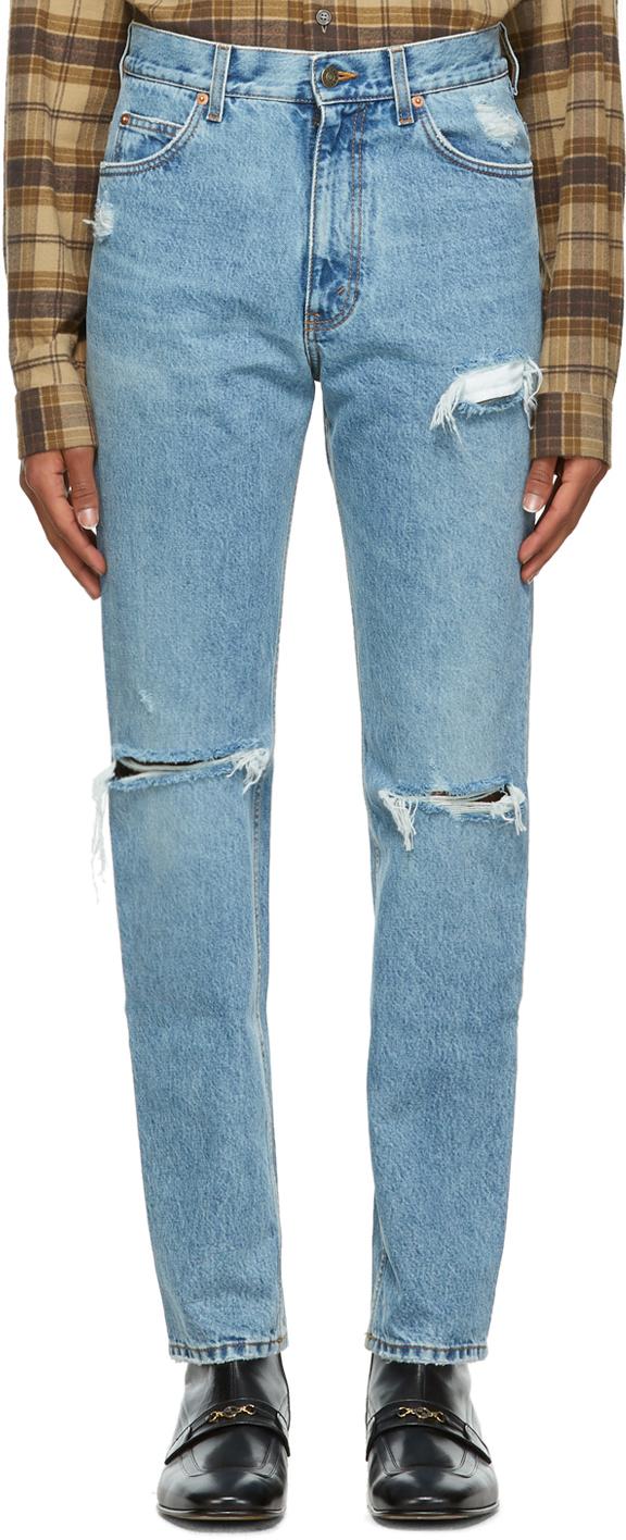 Gucci 蓝色水洗破洞牛仔裤