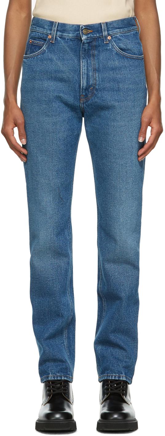 Gucci 蓝色水洗牛仔裤