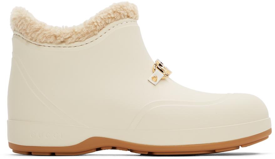 Gucci 灰白色马衔扣橡胶踝靴
