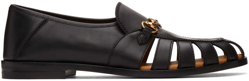 Gucci 黑色 Interlocking G 马衔扣乐福鞋