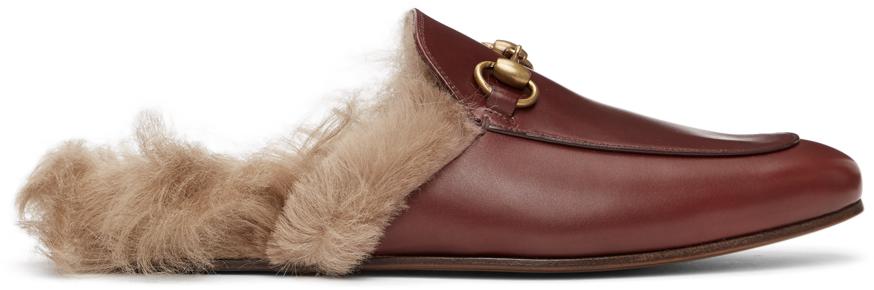 Gucci 酒红色 Princetown 乐福鞋