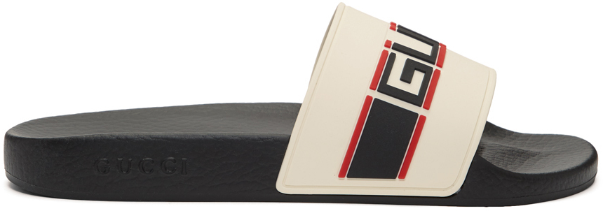 Gucci 灰白色 & 黑色 Pursuit Sport 拖鞋