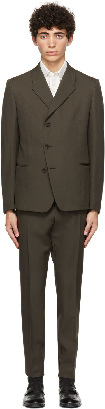 Green Wool & Mohair Canvas Suit