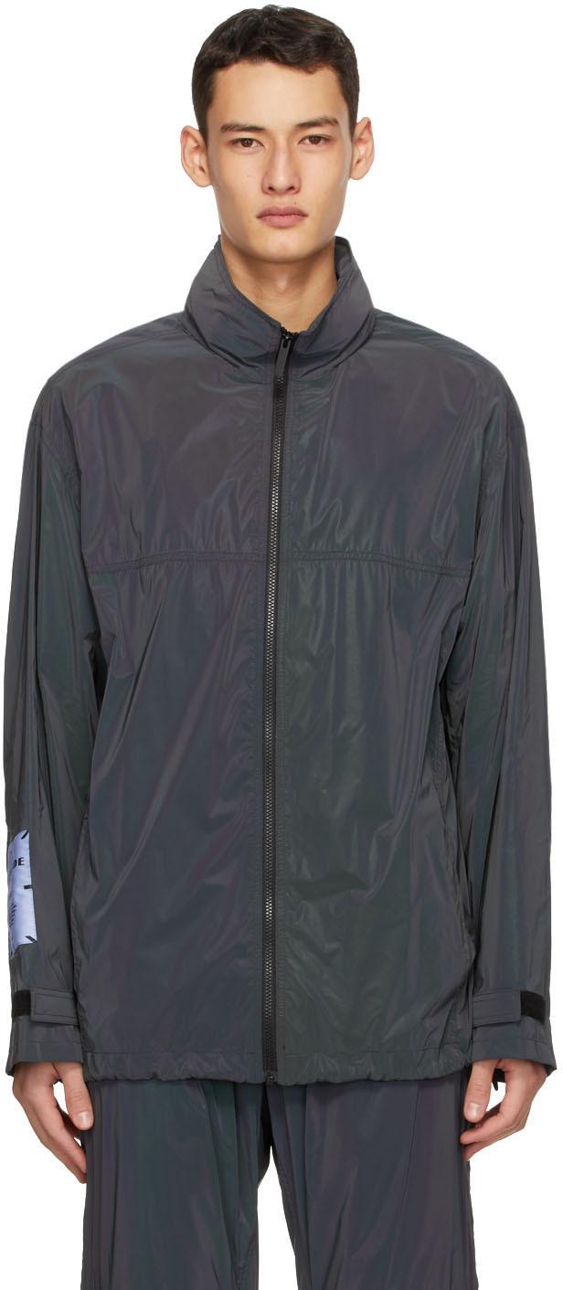 Black Reflective Windbreaker Jacket