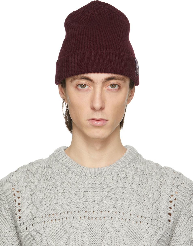 Paul Smith 50th Anniversary 酒红色罗纹针织毛线帽