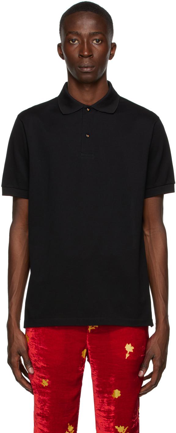 Paul Smith 50th Anniversary ブラック スパゲティ チャーム ボタン ポロシャツ