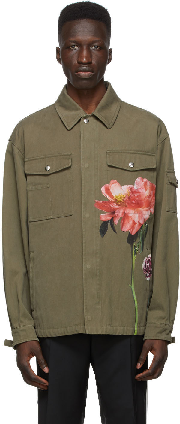 Valentino 军绿色 Inez & Vinoodh 联名 Floral 牛仔夹克
