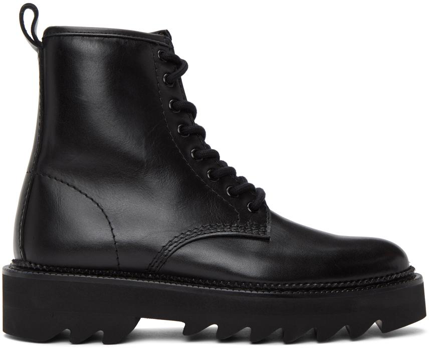 AMI Alexandre Mattiussi 黑色系带踝靴