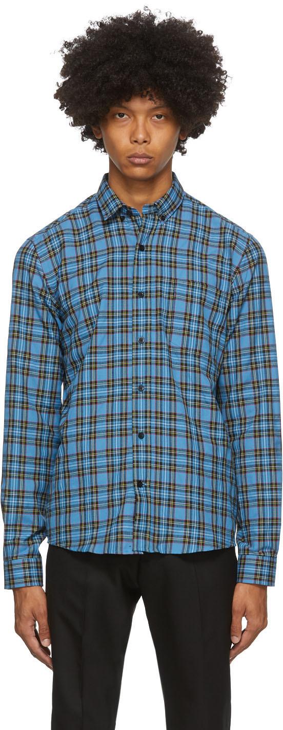 Blue & Black Button-Down Checkered Shirt