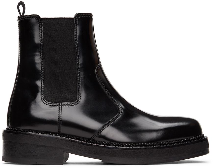 AMI Alexandre Mattiussi 黑色 Spazzolato 切尔西靴