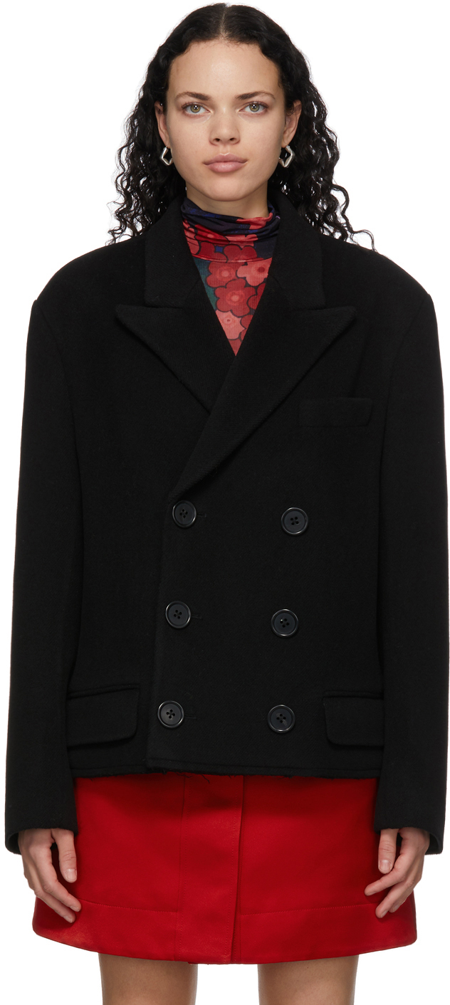 Black Wool Bouclé Coat