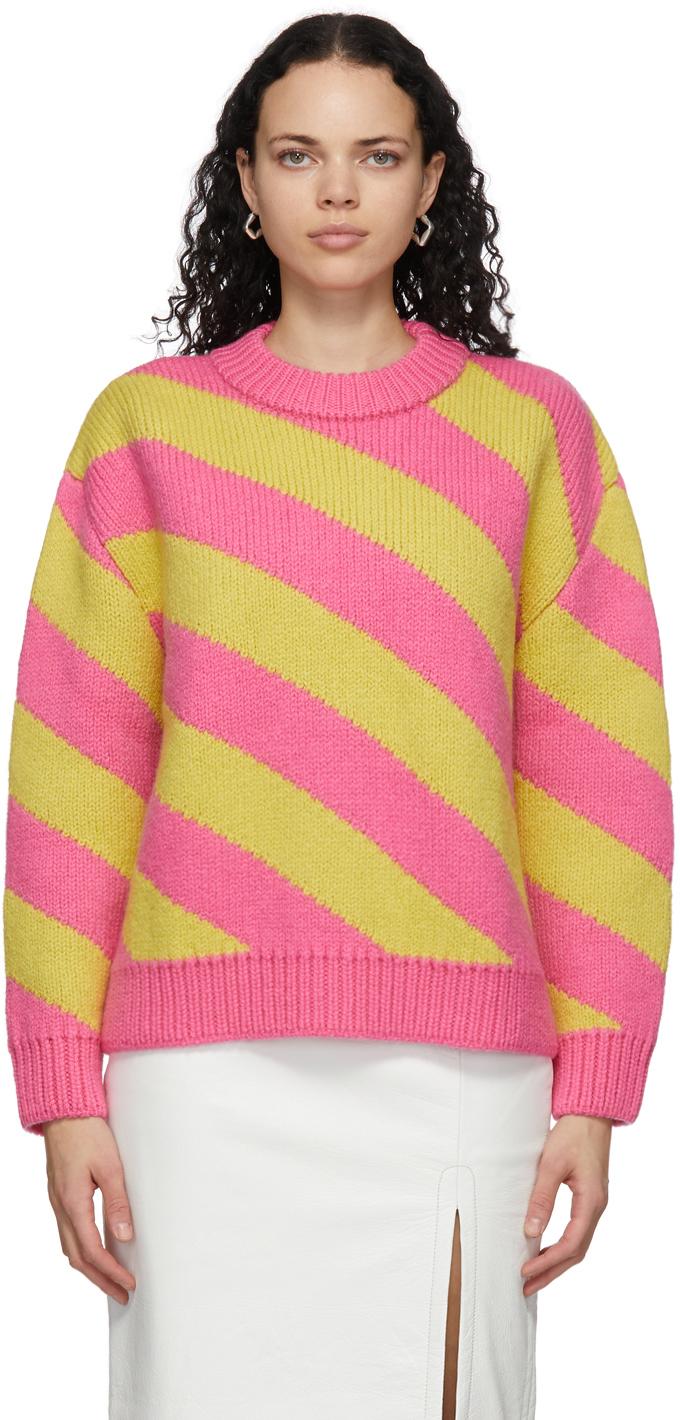 Pink & Yellow Diagonal Stripe Sweater