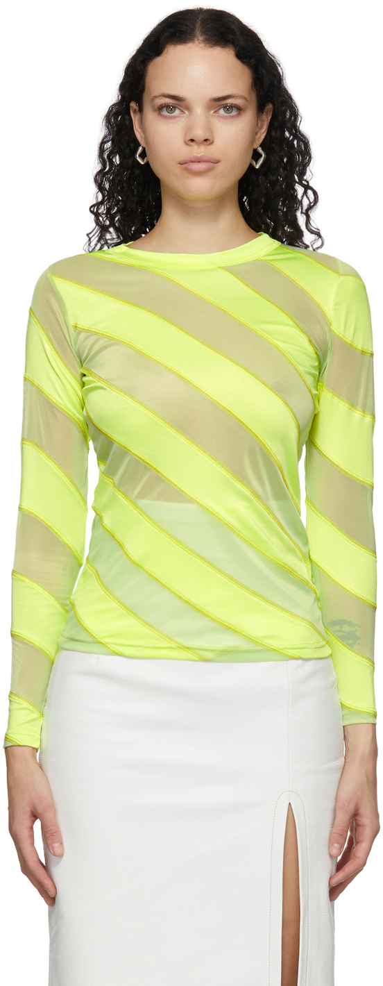 Yellow Diagonal Stripes Fluid Long Sleeve T-Shirt