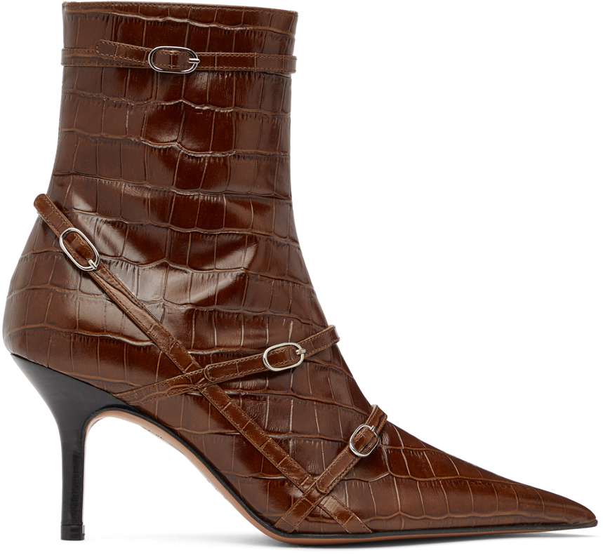 Abra SSENSE Exclusive Brown Belt Heeled Ankle Boots 202526F113001