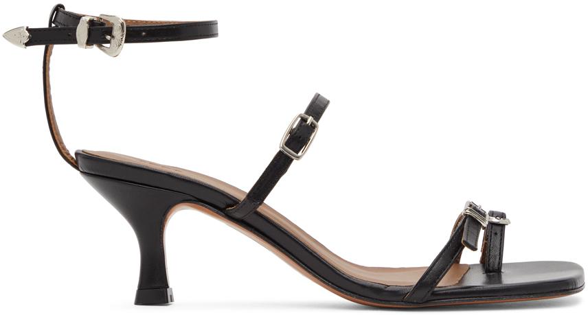 Abra Black Buckle Heeled Sandals 202526F125018
