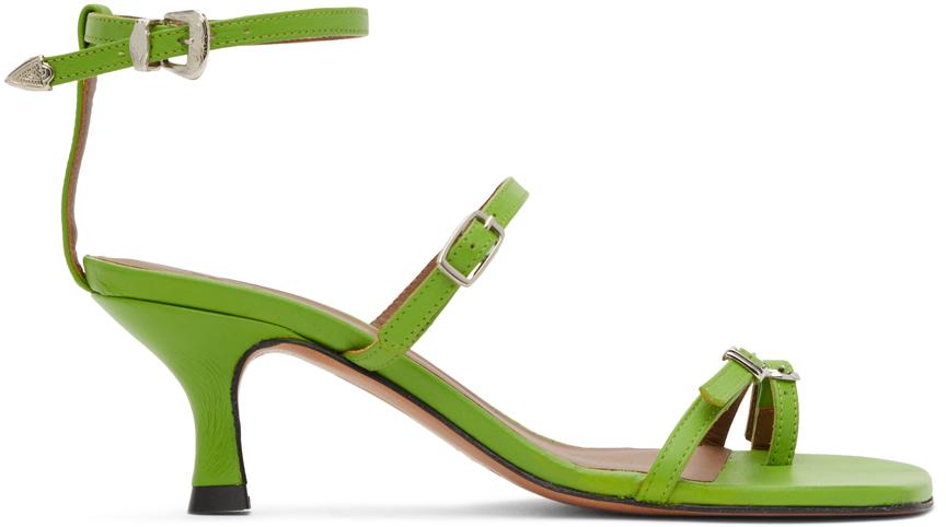 Abra Green Buckle Heeled Sandals 202526F125019