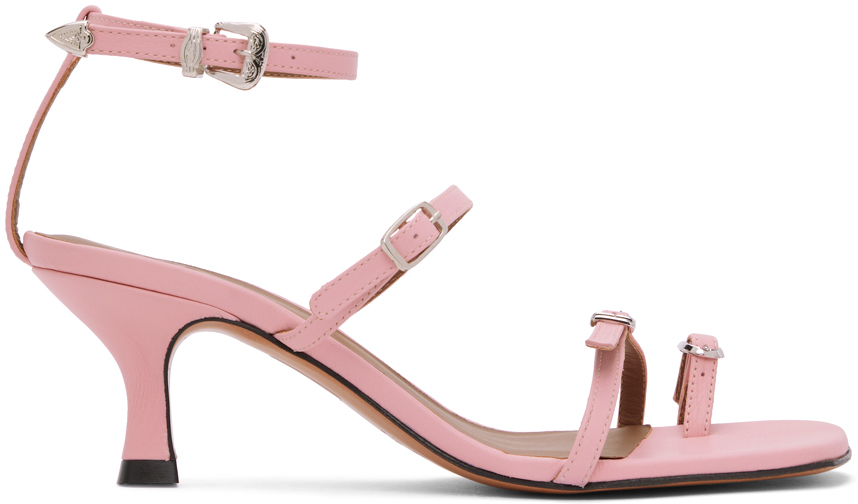 Abra SSENSE Exclusive Pink Buckle Heeled Sandals 202526F125020