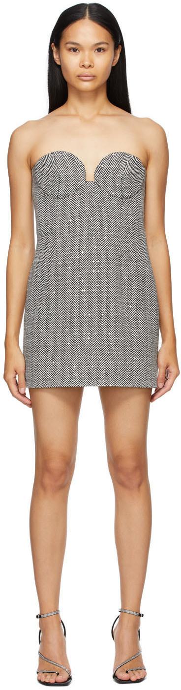 Black & White Cashmere Herringbone Bustier Dress