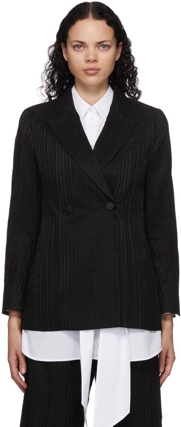 Black Ribbon Stripe Double-Breasted Blazer