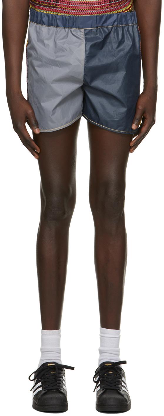 Navy & Grey Attenzione Tent Shorts
