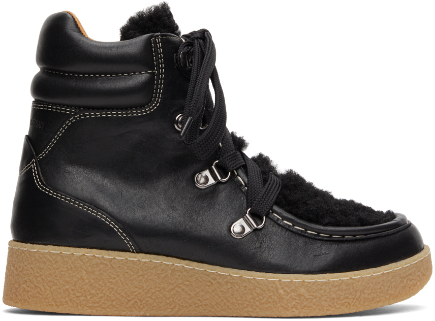 Black Shearling Alpica Ankle Boots