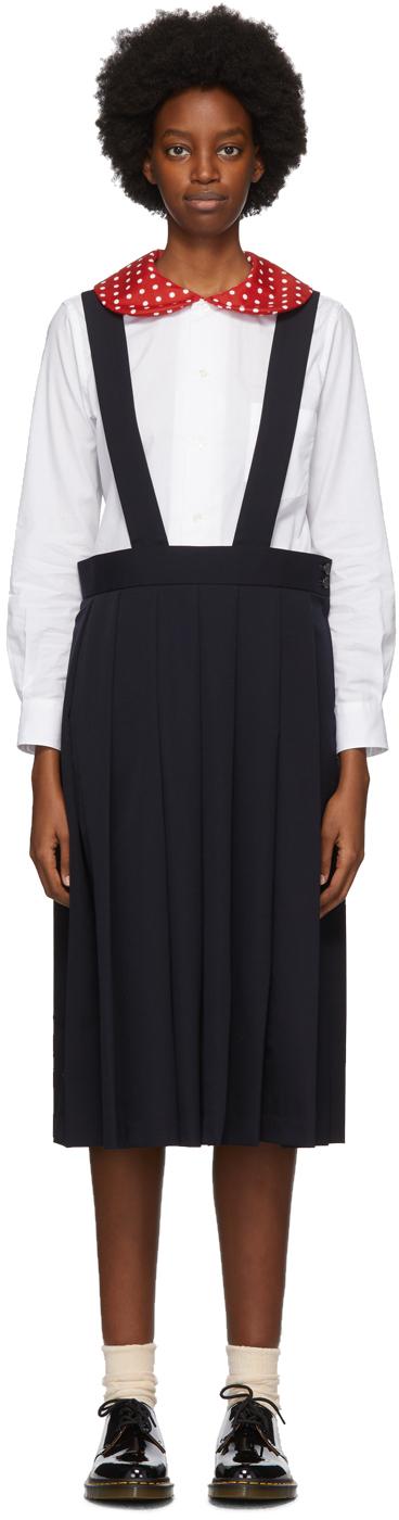 Comme des Garçons Girl Navy Wool Suspender Midi Skirt