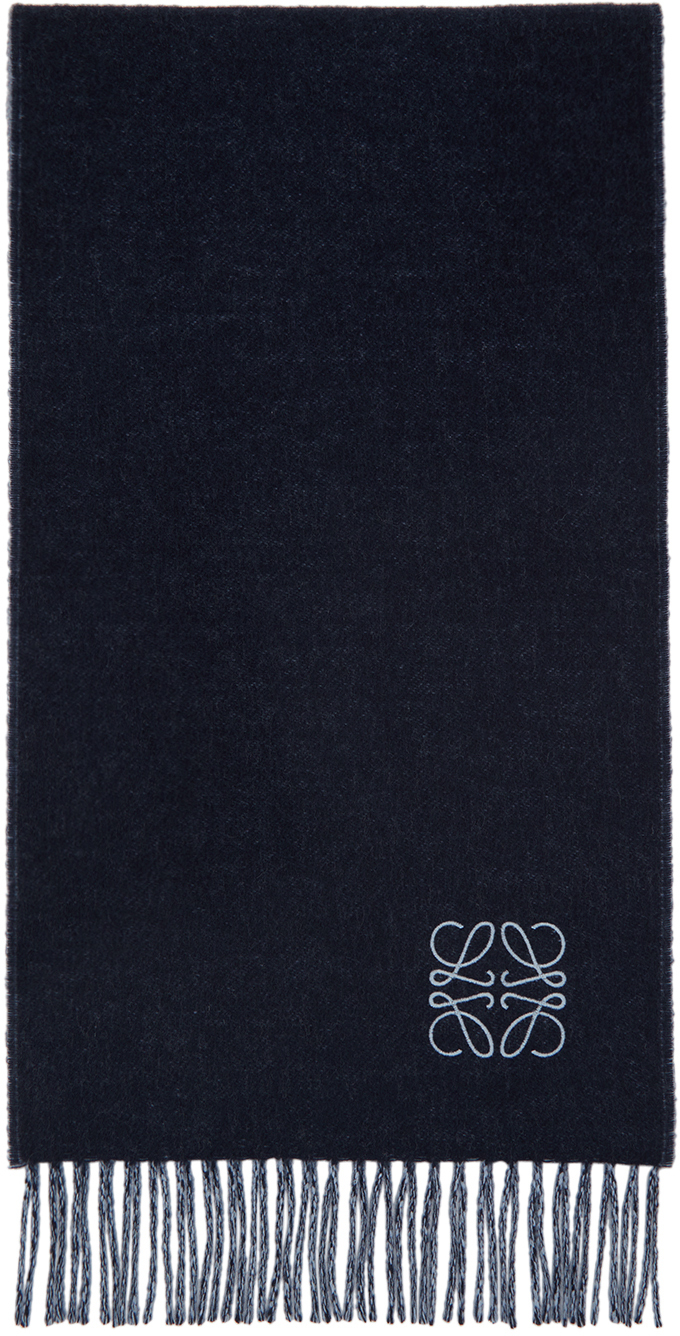 Blue & Navy Wool Anagram Scarf