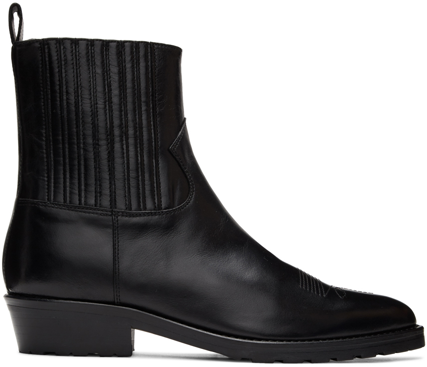 Toga Virilis 黑色硬质皮革切尔西靴