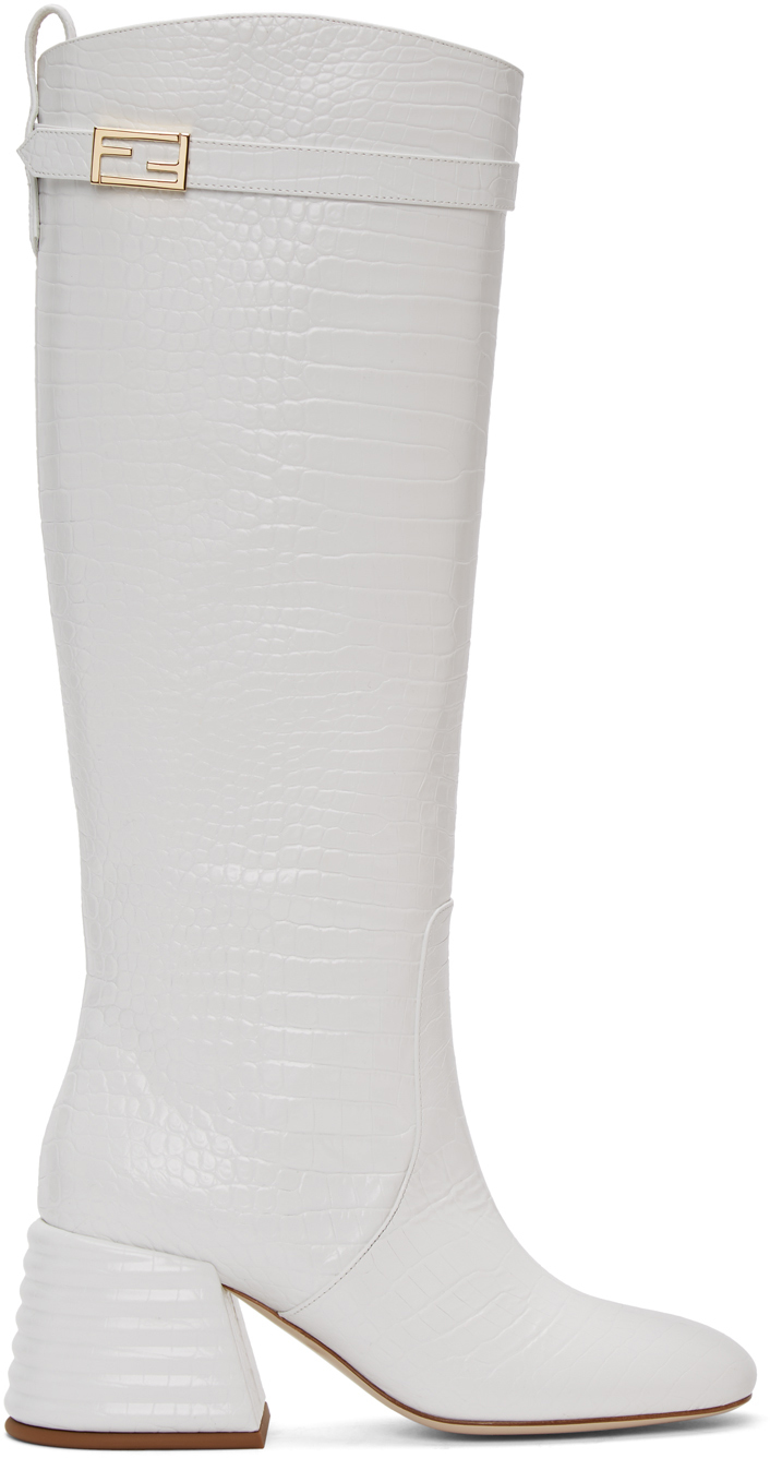 White Croc Promenade Tall Boots by