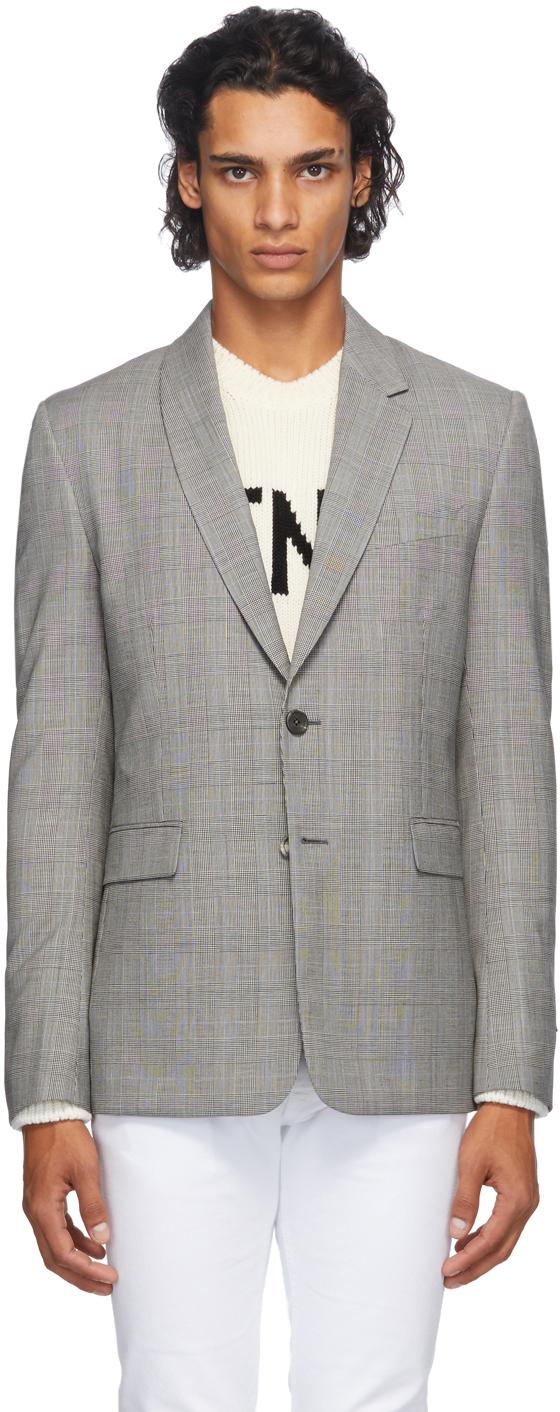 Fendi 灰色威尔士亲王格纹羊毛西装外套