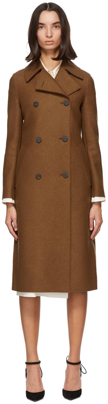 Harris Wharf London 棕色军风压制初剪羊毛大衣