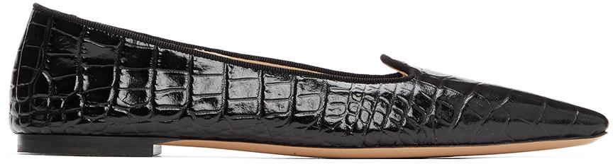 Black Croc Pointed Flats