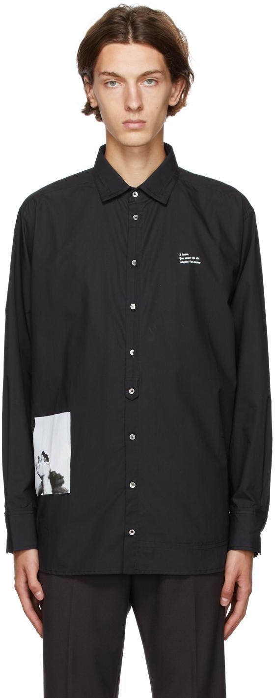 Black Graphic Print Oversized Shirt