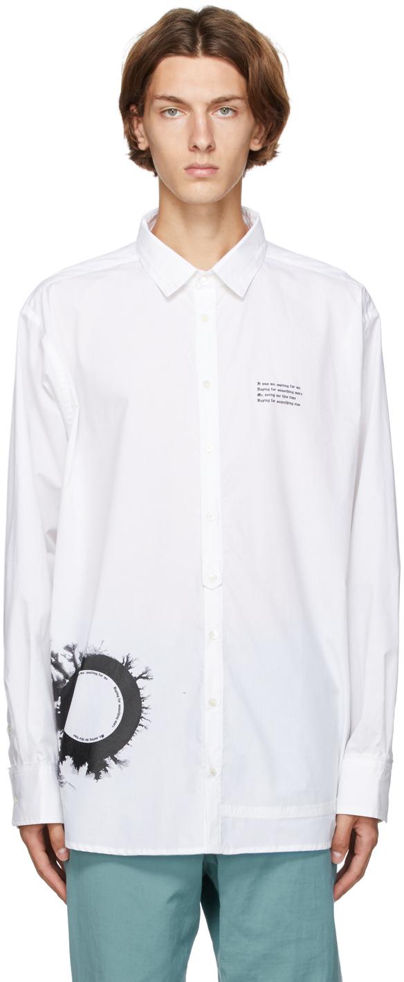 White Graphic Print Oversized Shirt