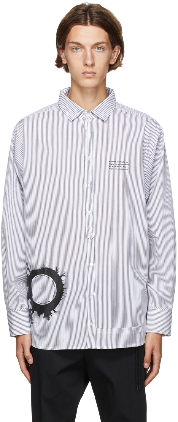 White & Black Stripe Graphic Print Oversized Shirt