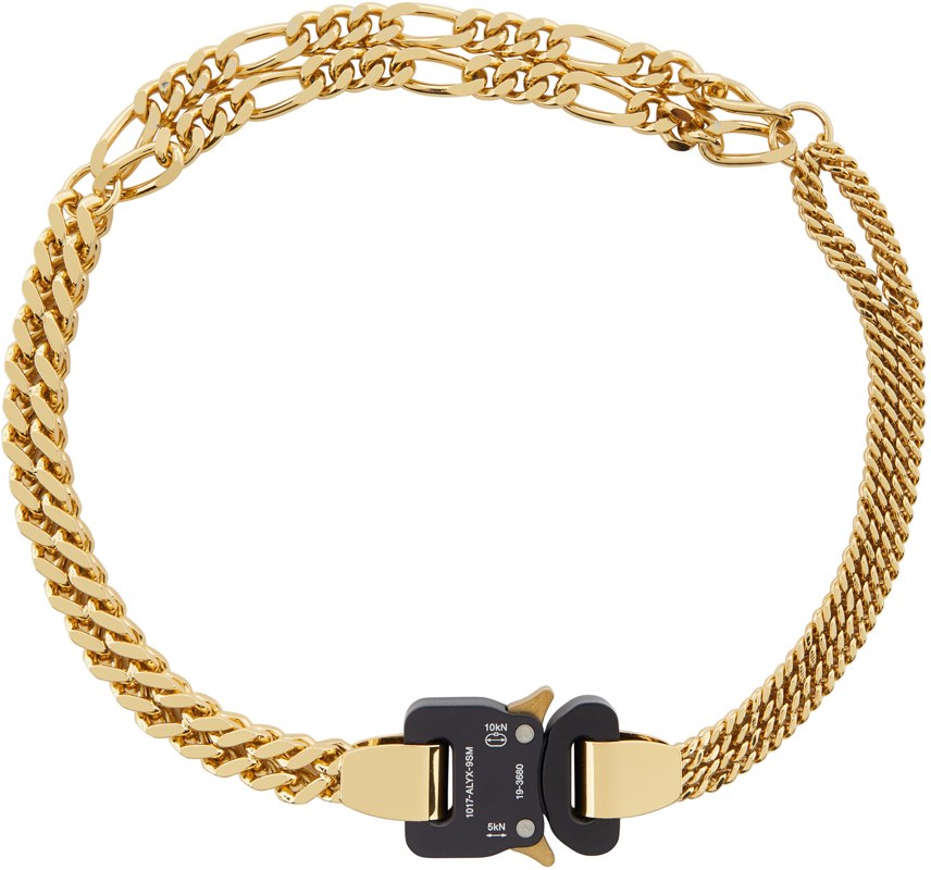 1017 ALYX 9SM Gold Triple Chain Buckle Necklace 202776M145120