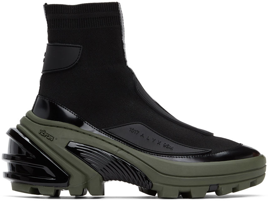 1017 ALYX 9SM Black Khaki High Knit Sneakers 202776M236220