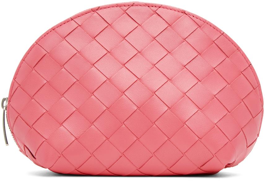 Pink Intrecciato Small Cosmetic Pouch