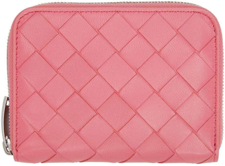 Bottega Veneta ピンク イントレチャート ジップ コイン ケース ウォレット