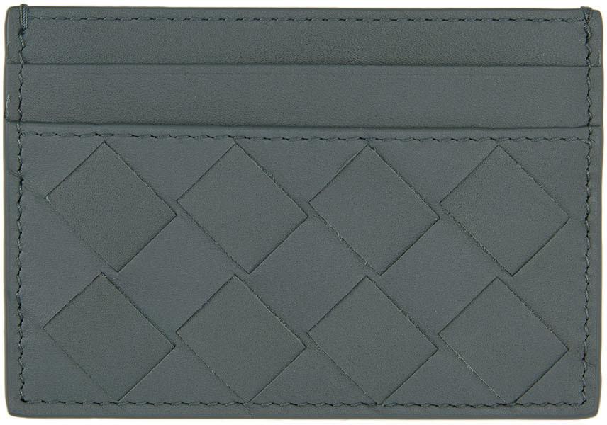 Grey Intrecciato Card Holder
