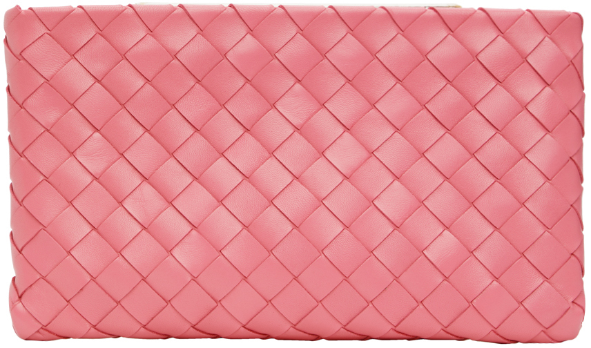 Pink Intrecciato Medium Pouch
