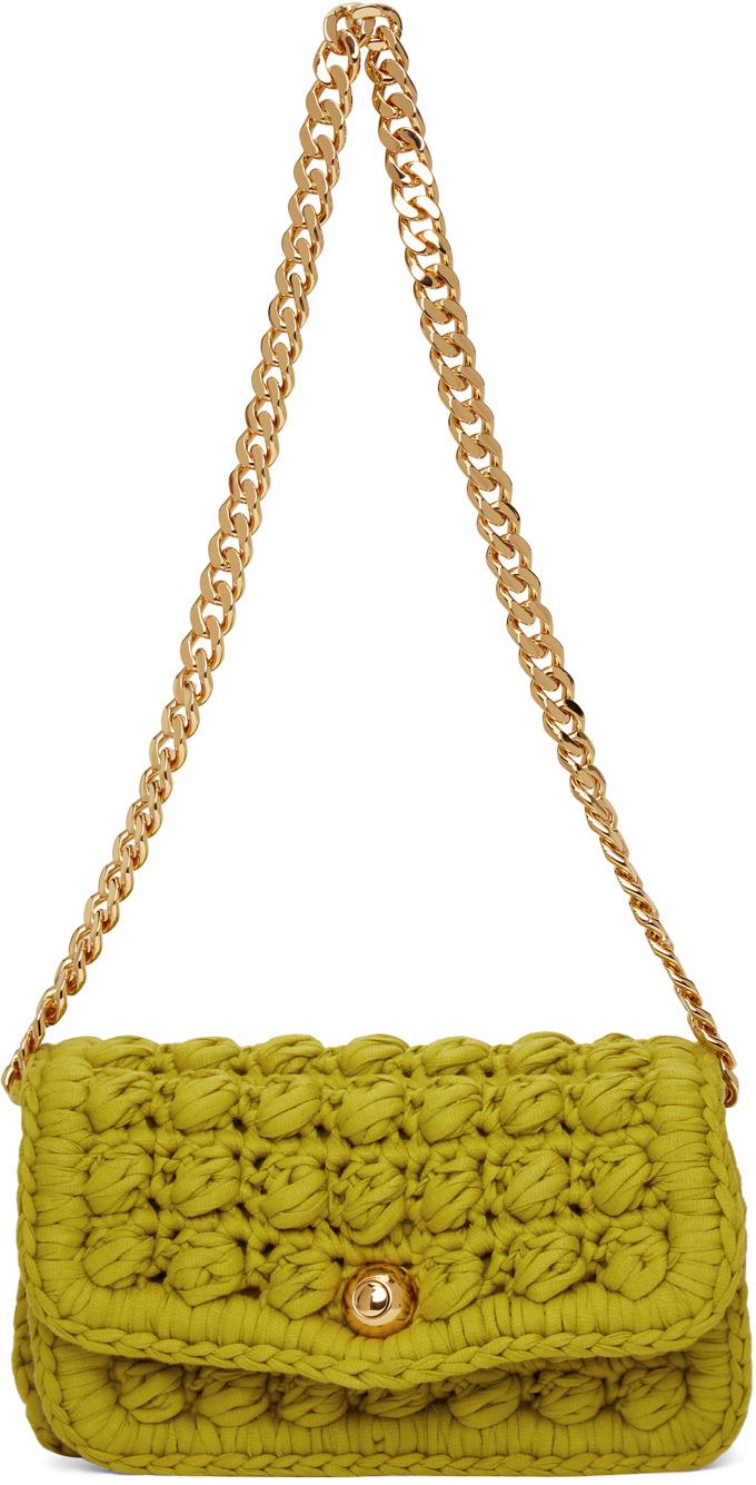 Bottega Veneta 绿色钩针编织单肩包