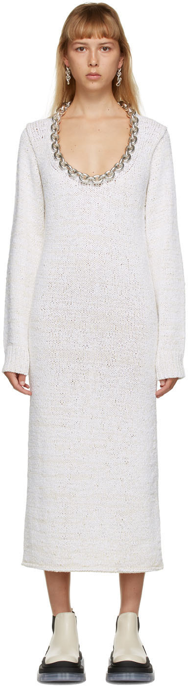 Bottega Veneta 灰白色 Imperfect 链带连衣裙