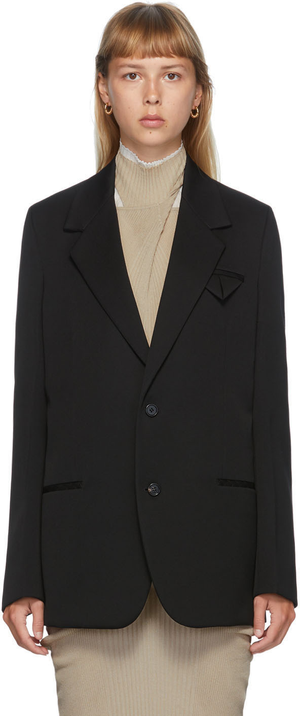 Bottega Veneta 黑色大廓形羊毛西装外套