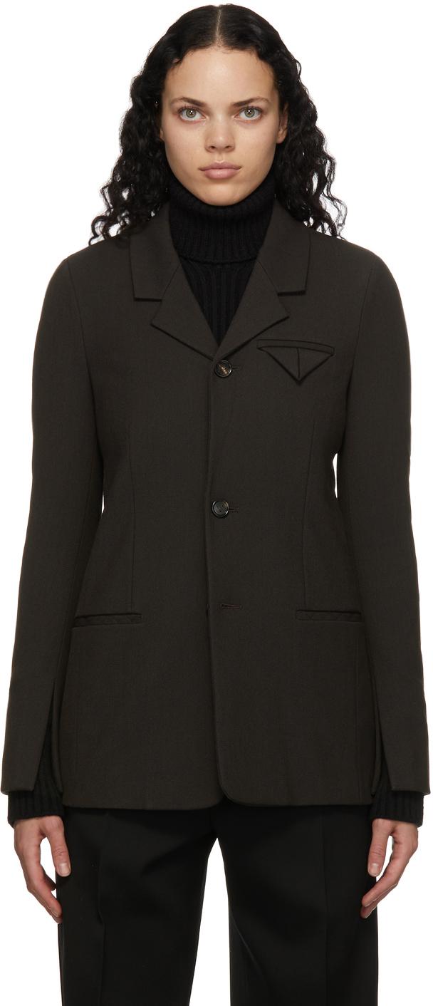 Bottega Veneta 棕色单排扣西装外套