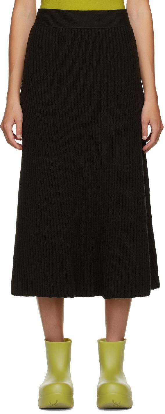 Bottega Veneta 棕色 Distorted 罗纹半身裙